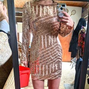 BNWT Stunning Rose Gold Sequin + Mesh Dress
